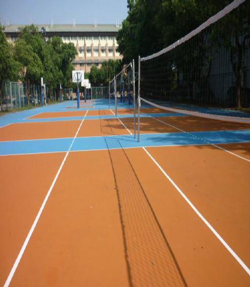 中正堂旁籃排球場地面鋪設工程